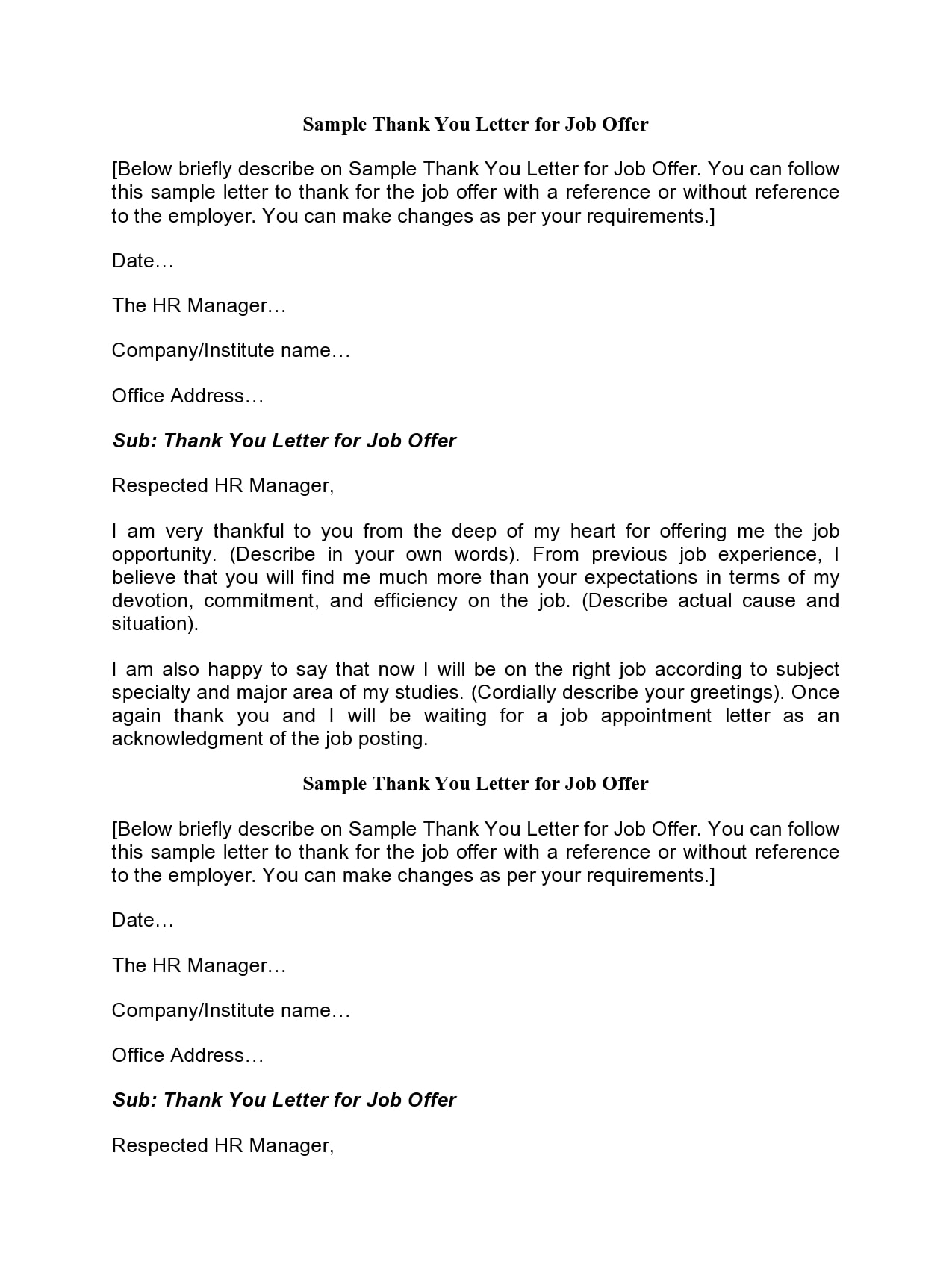 If job acceptance letter template for taking any policies of offer letter format in job word document is often include a paper for. 30 Professional Thank You Letters For Job Offer Free