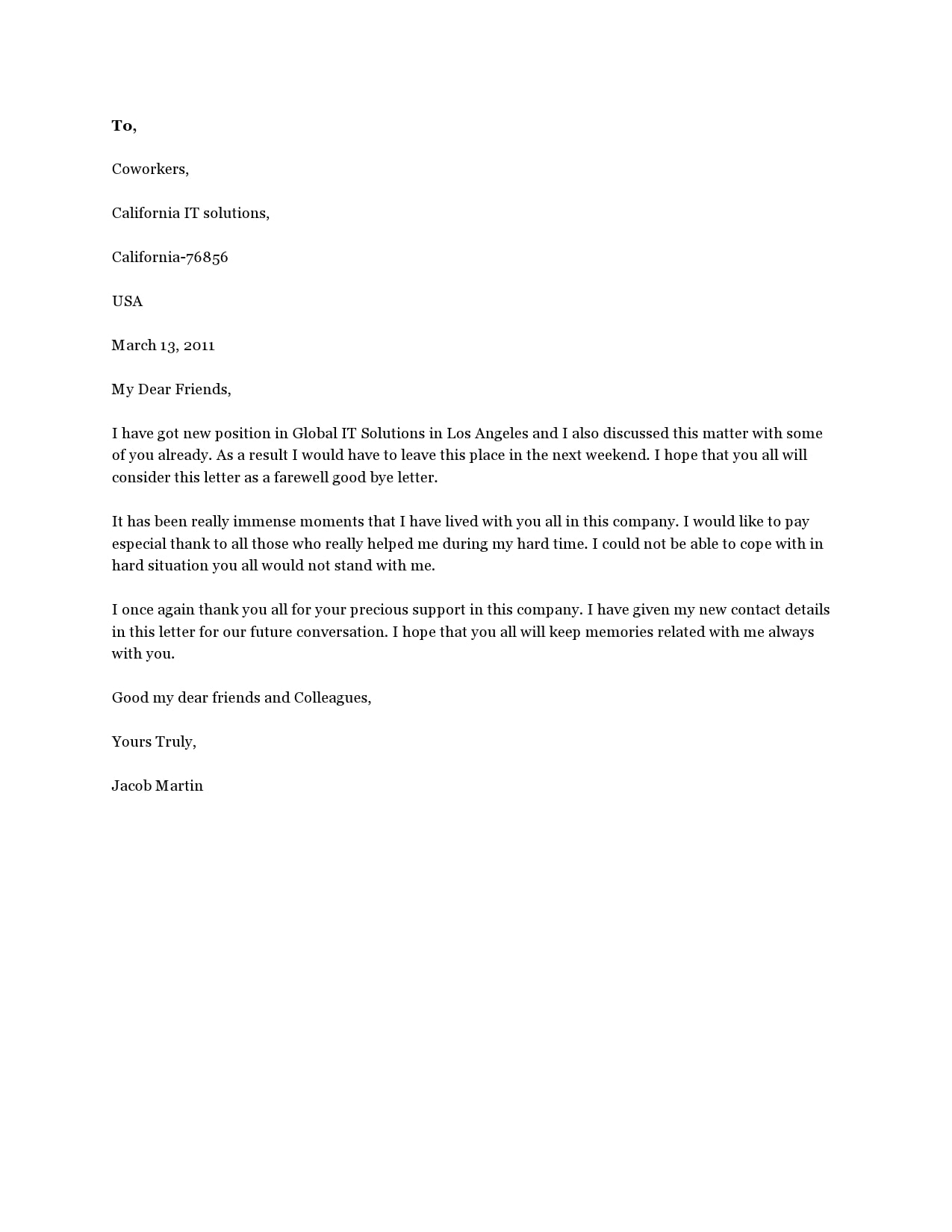 Thank You Letter To Colleagues When Leaving Company : thank, letter, colleagues, leaving, company, Perfect, Farewell, Letters, Colleagues), TemplateArchive