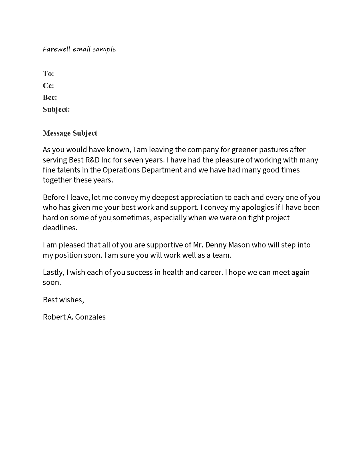 How to Write the Best Farewell Email to Co-Workers and