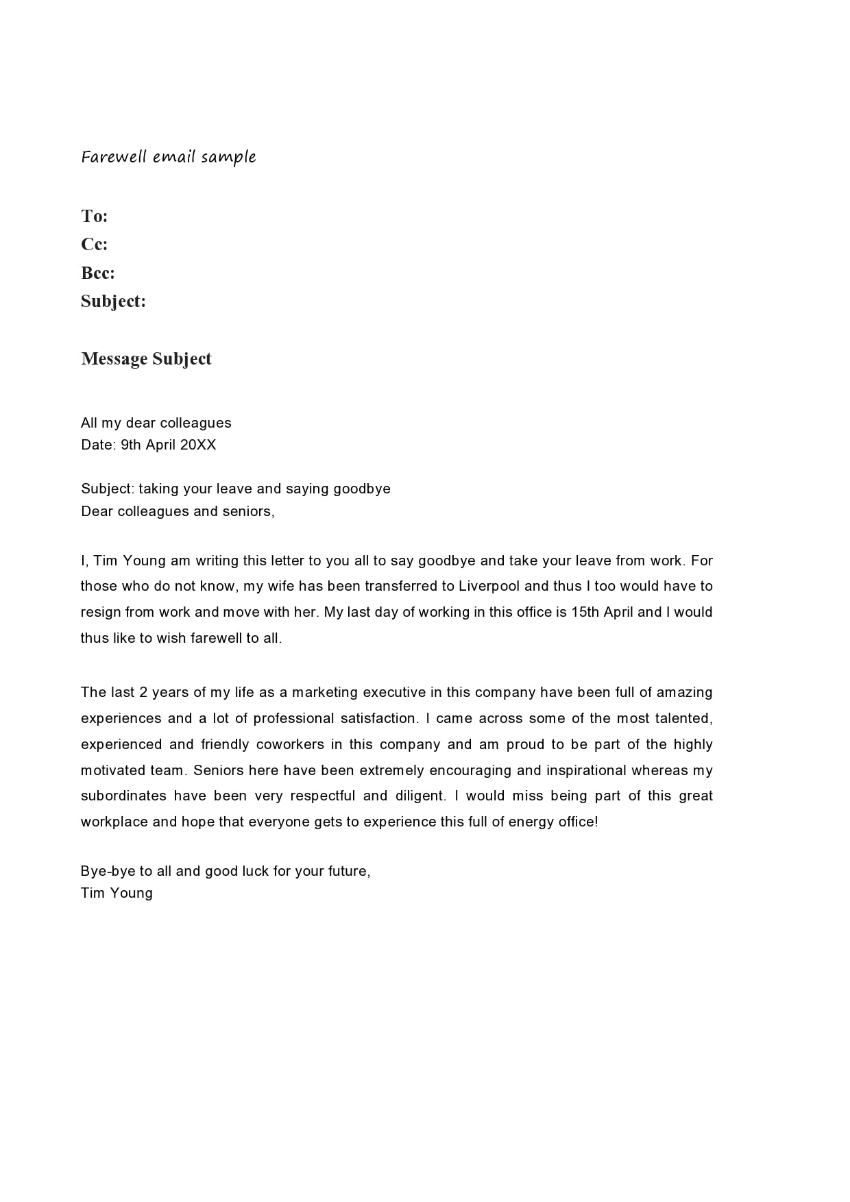 Best Goodbye Letter To Coworkers Database | Letter Template Collection