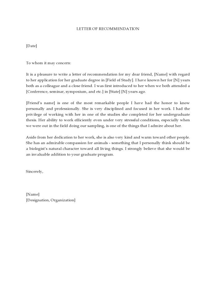 30 Free Letters Of Recommendation For Graduate School Templatearchive