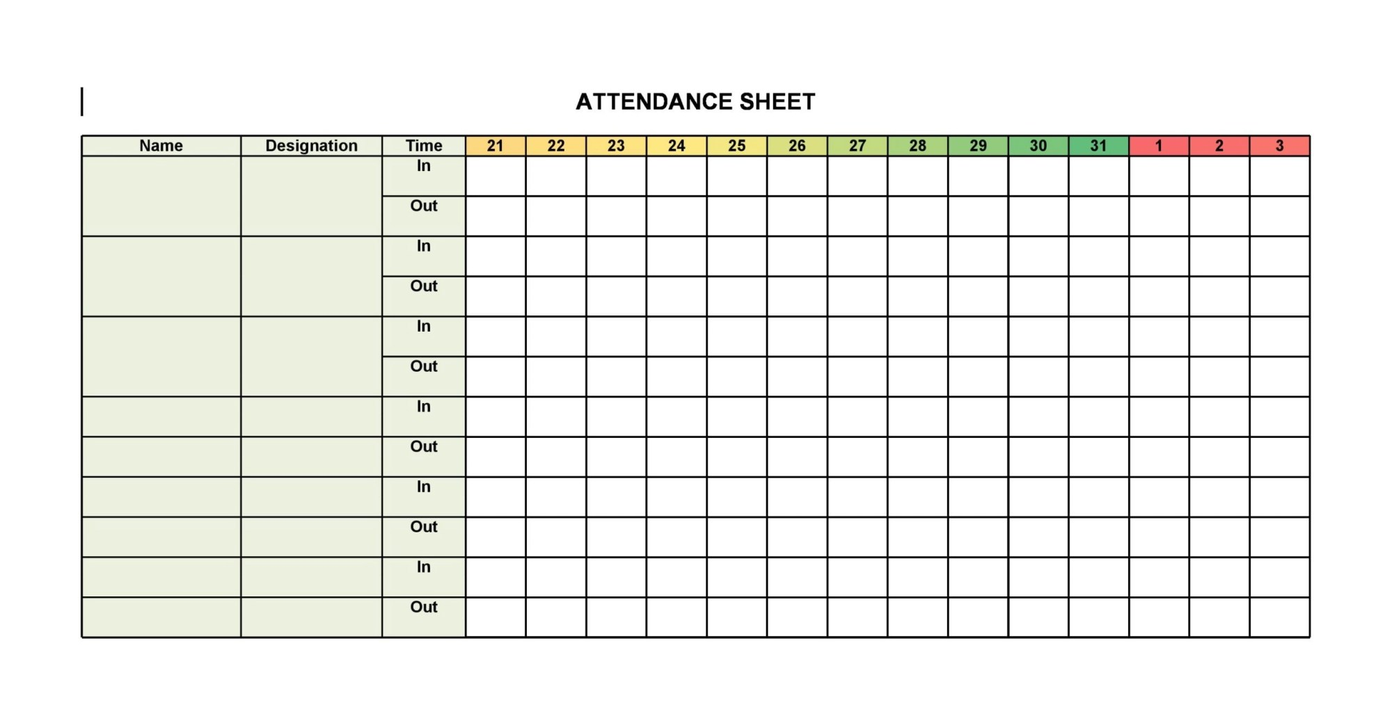 hight resolution of 30 Printable Attendance Sheet Templates Free - TemplateArchive