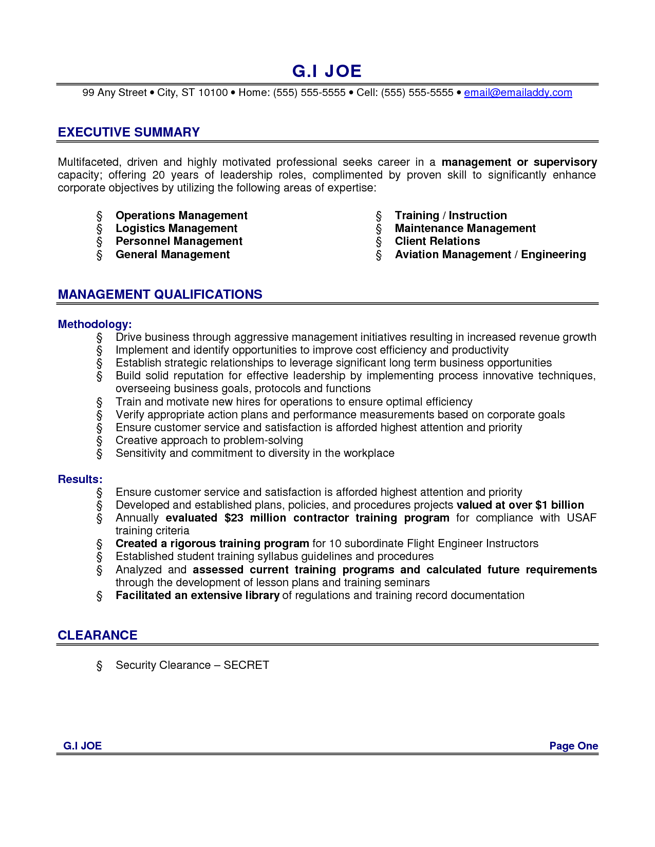executive summary for teacher resume