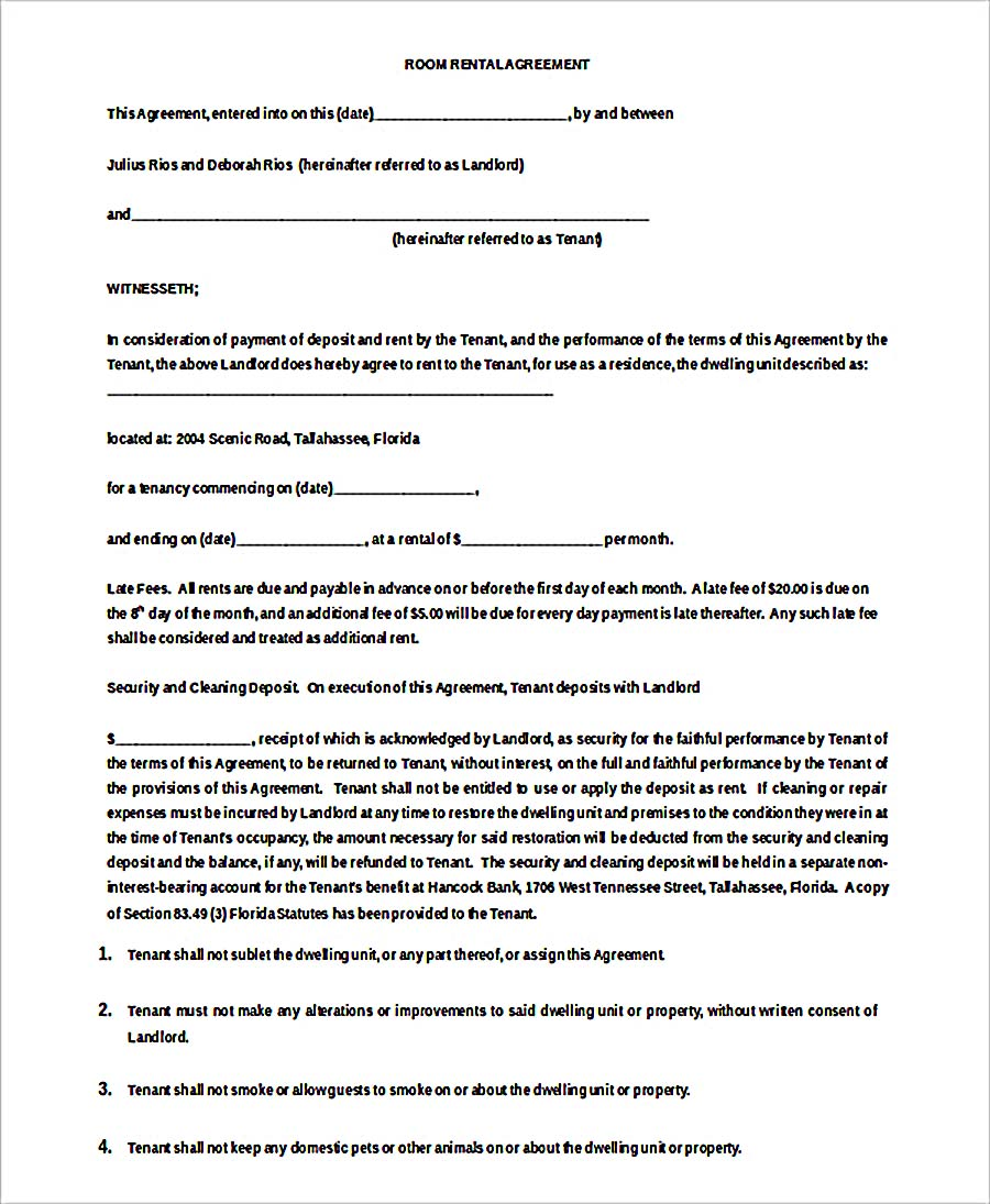 Month To Month Room Rent Agreement Doc Download
