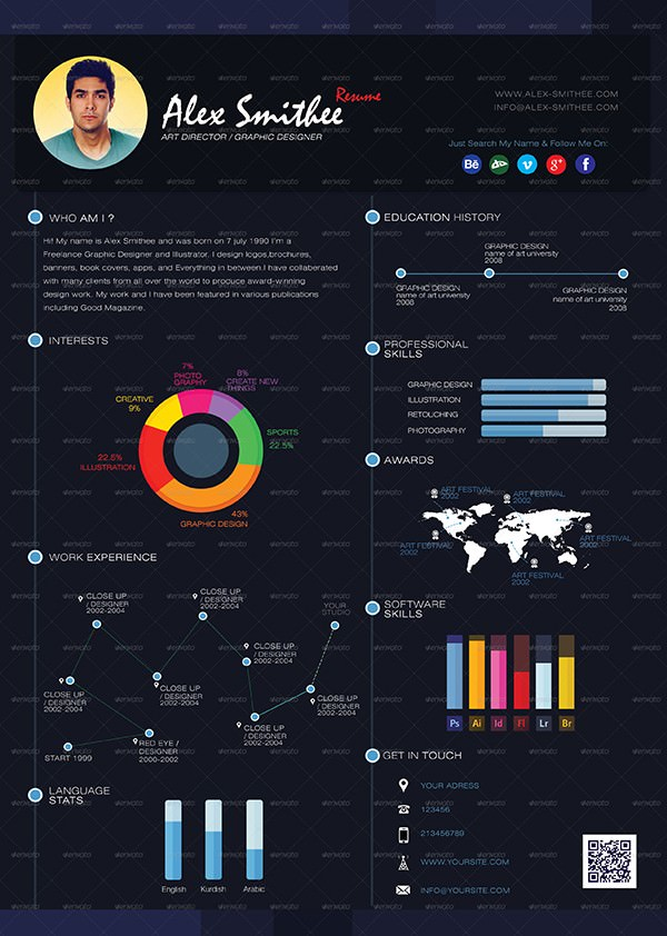 infographic resume psd free download