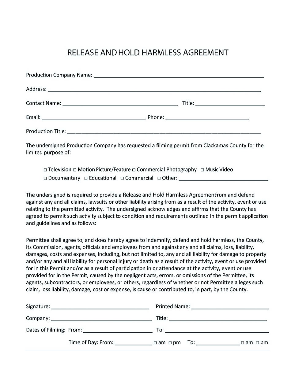 hold harmless agreement free