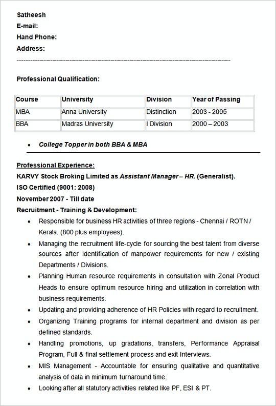 human resource sample resume hiring