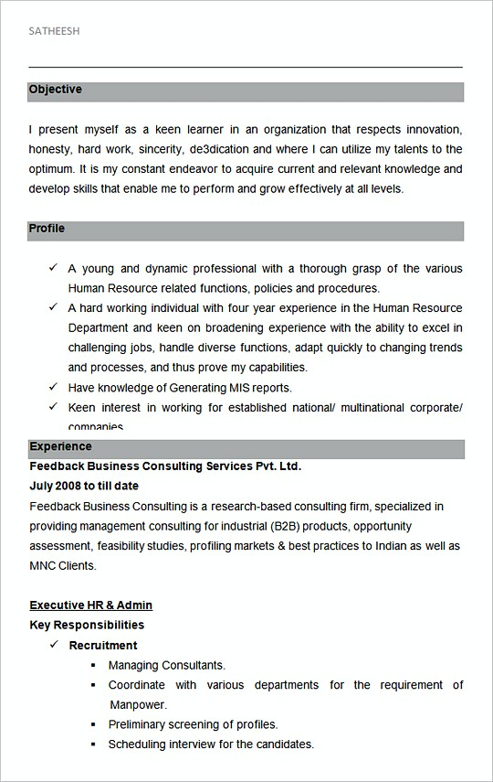 hr and admin executive resume sample