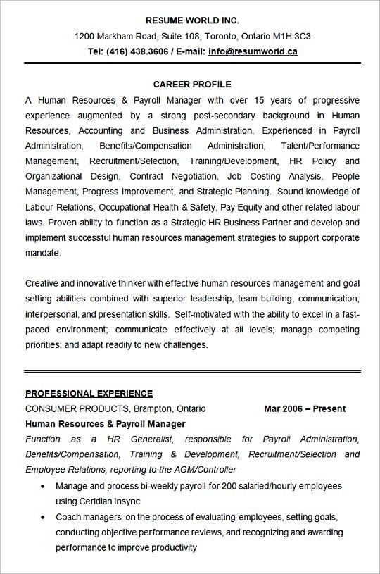 human resource resume example