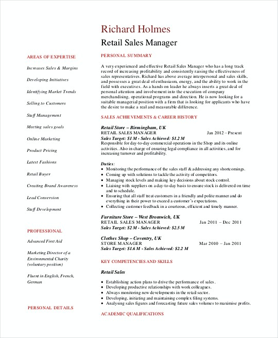 Sales Operations Manager Resume