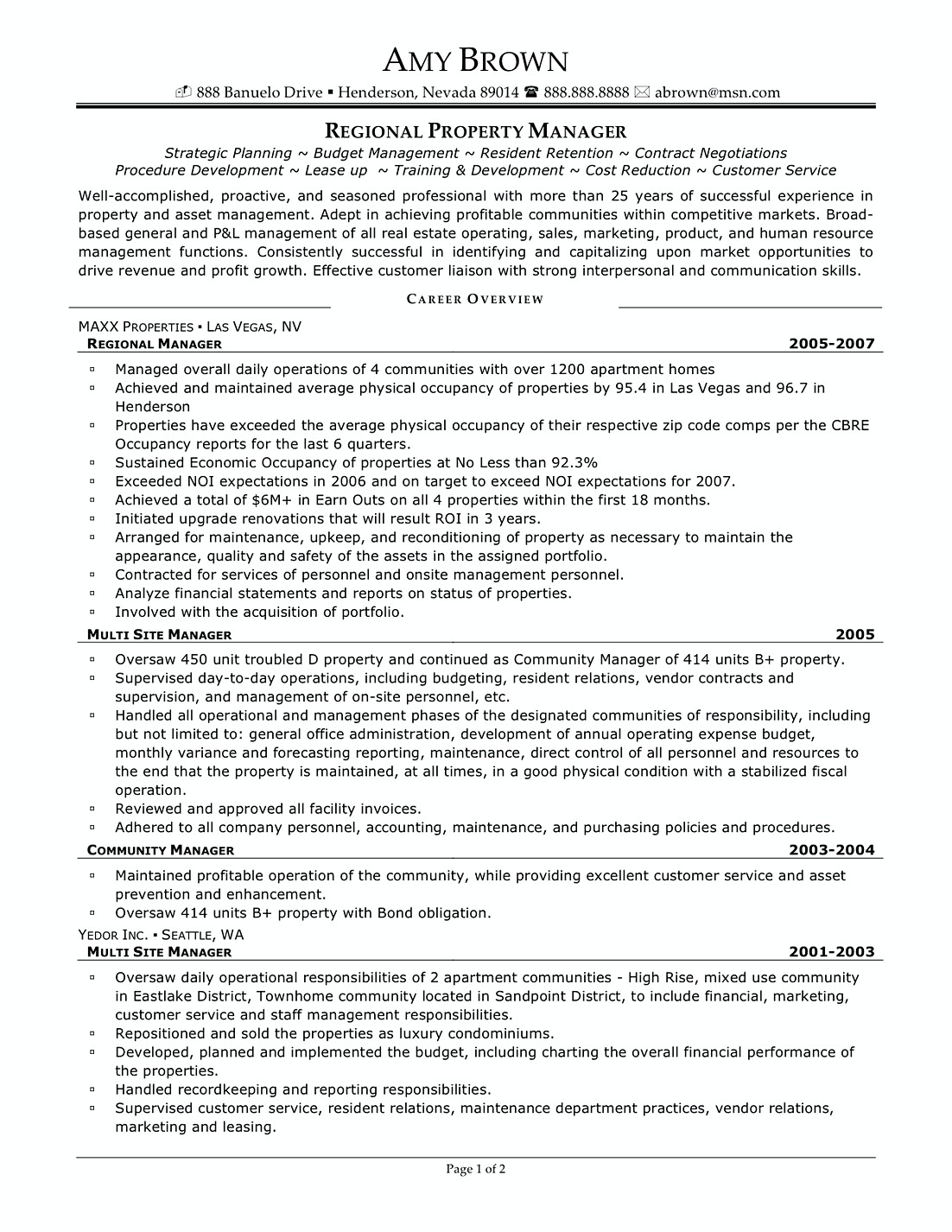 regional it manager resume template