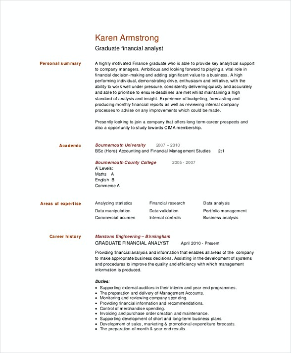 healthcare financial analyst resume sample