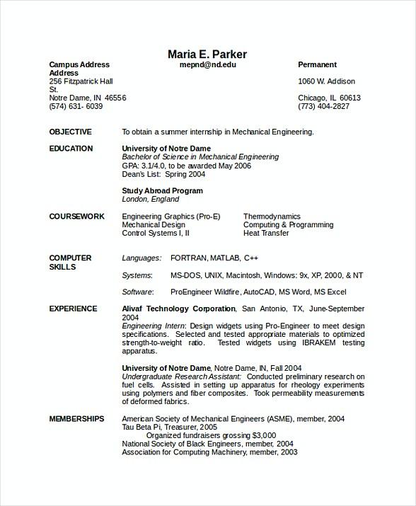 mechanical engineer resume sample doc