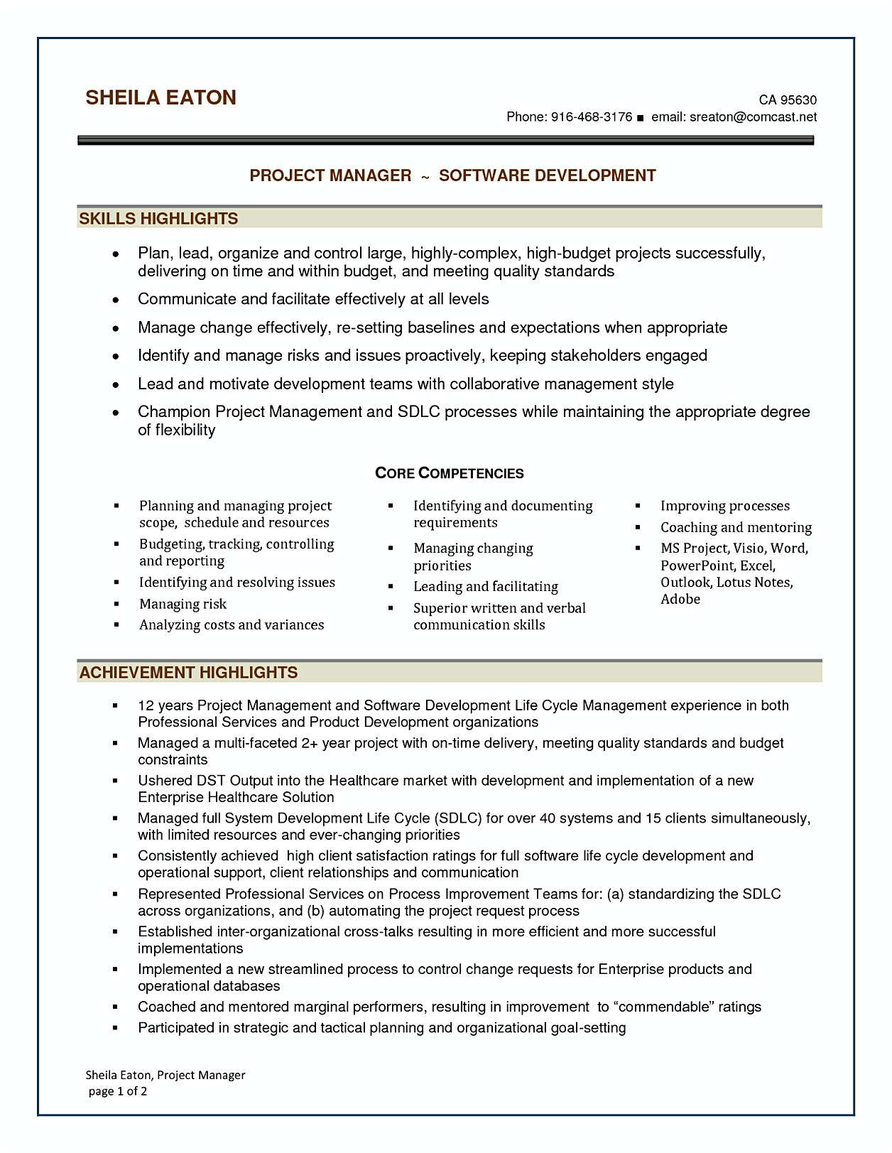 Project Management Experience On Resume Software Project Manager Resume