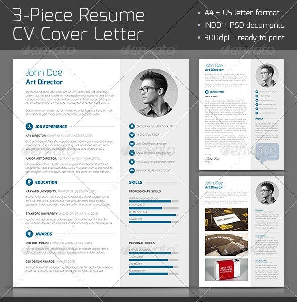 3 piece resume cv cover letter download free