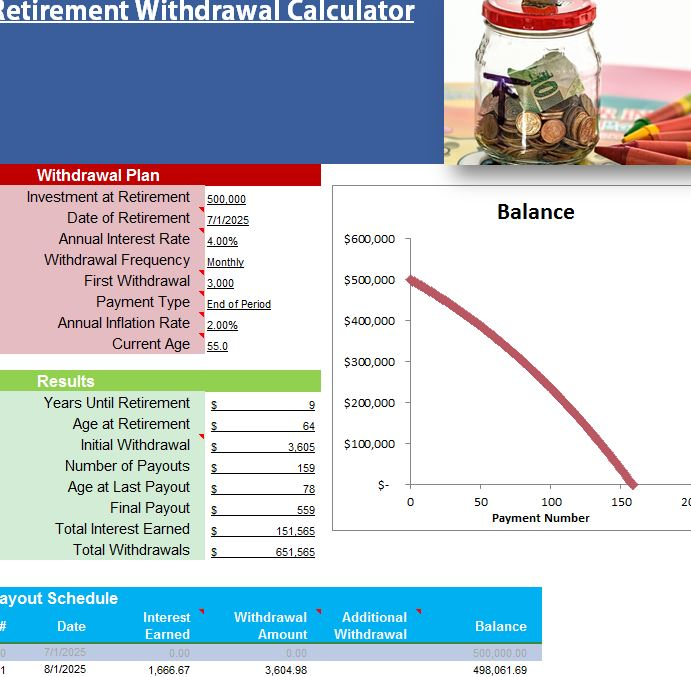 Sle Retirement Withdrawal Calculator 6 Exles In Excel ~ Retirement ...