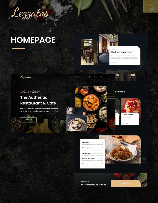 Lezzatos | Restaurant & Cafe Elementor Template Kit - 1