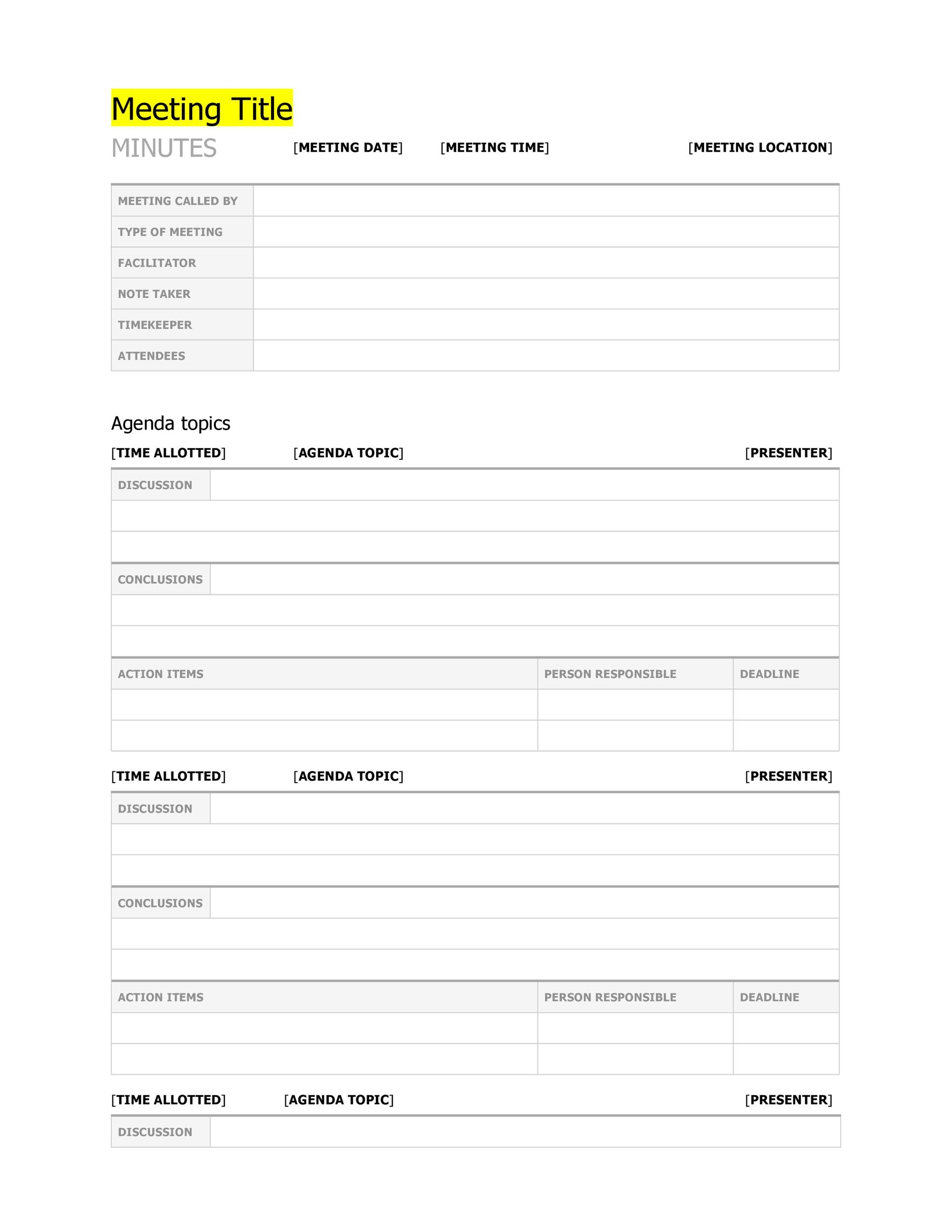 20 Handy Meeting Minutes Amp Meeting Notes Templates