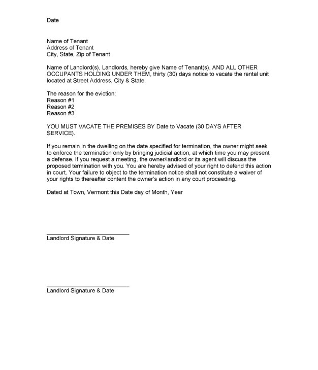 Notice to tenant vacate sample letter philippines poemview 45 eviction notice templates lease termination letters thecheapjerseys Images