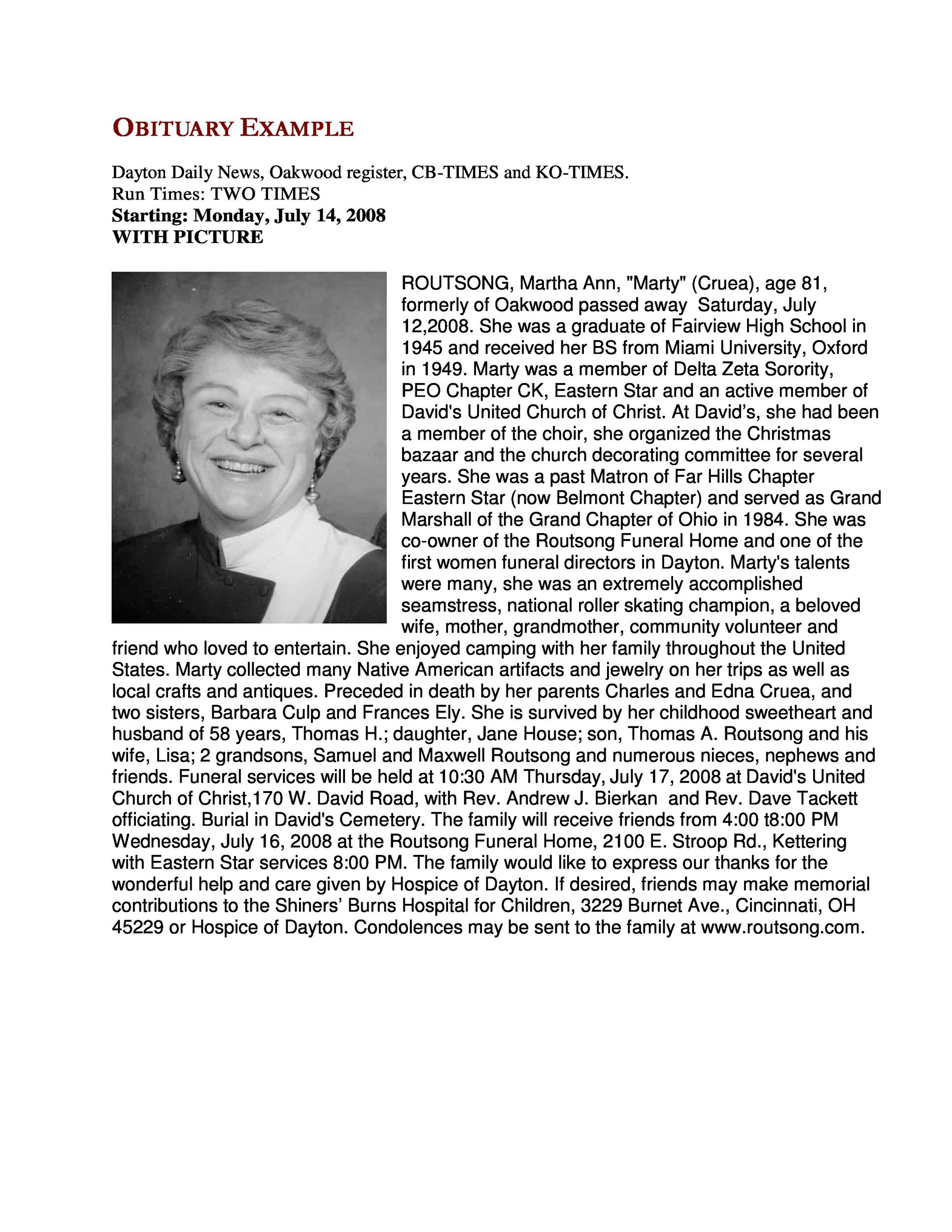 25 Obituary Templates And Samples Templatelab