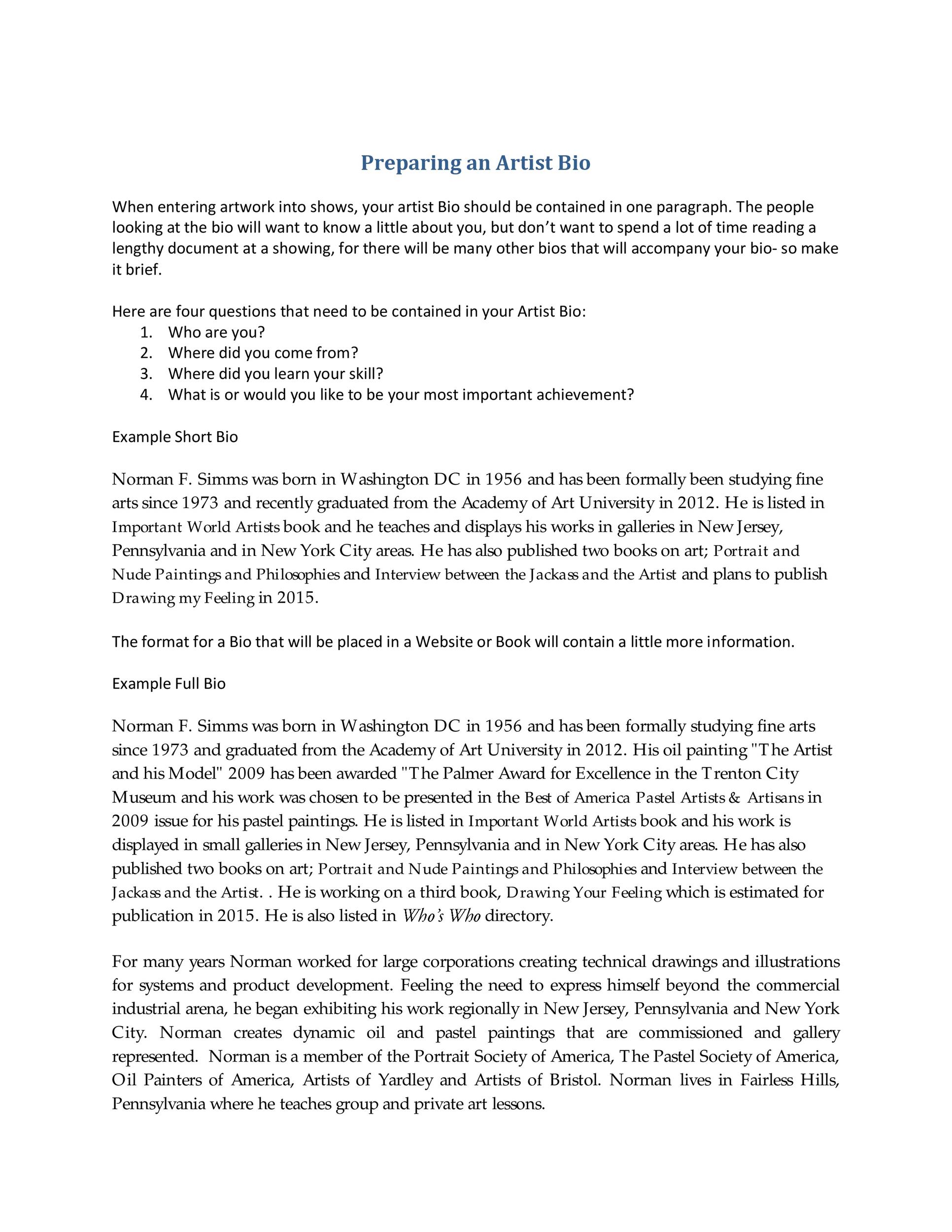 45 Biography Templates Amp Examples Personal Professional