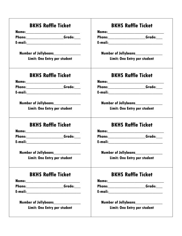Free Printable Raffle Tickets With Stubs  Free Download