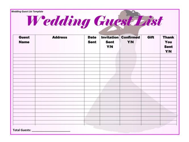 35 Beautiful Wedding Guest List Itinerary Templates