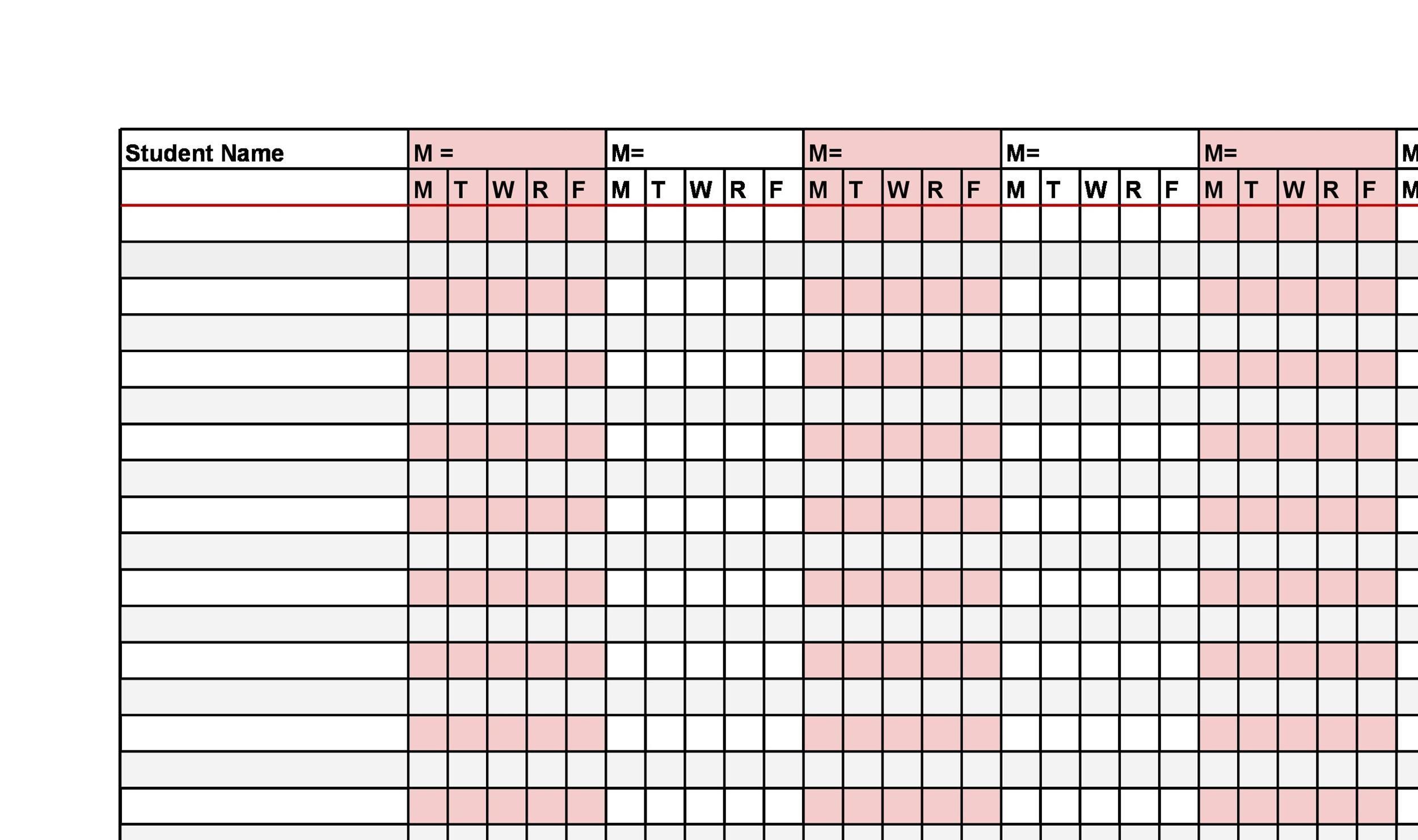 attendance roll sheet