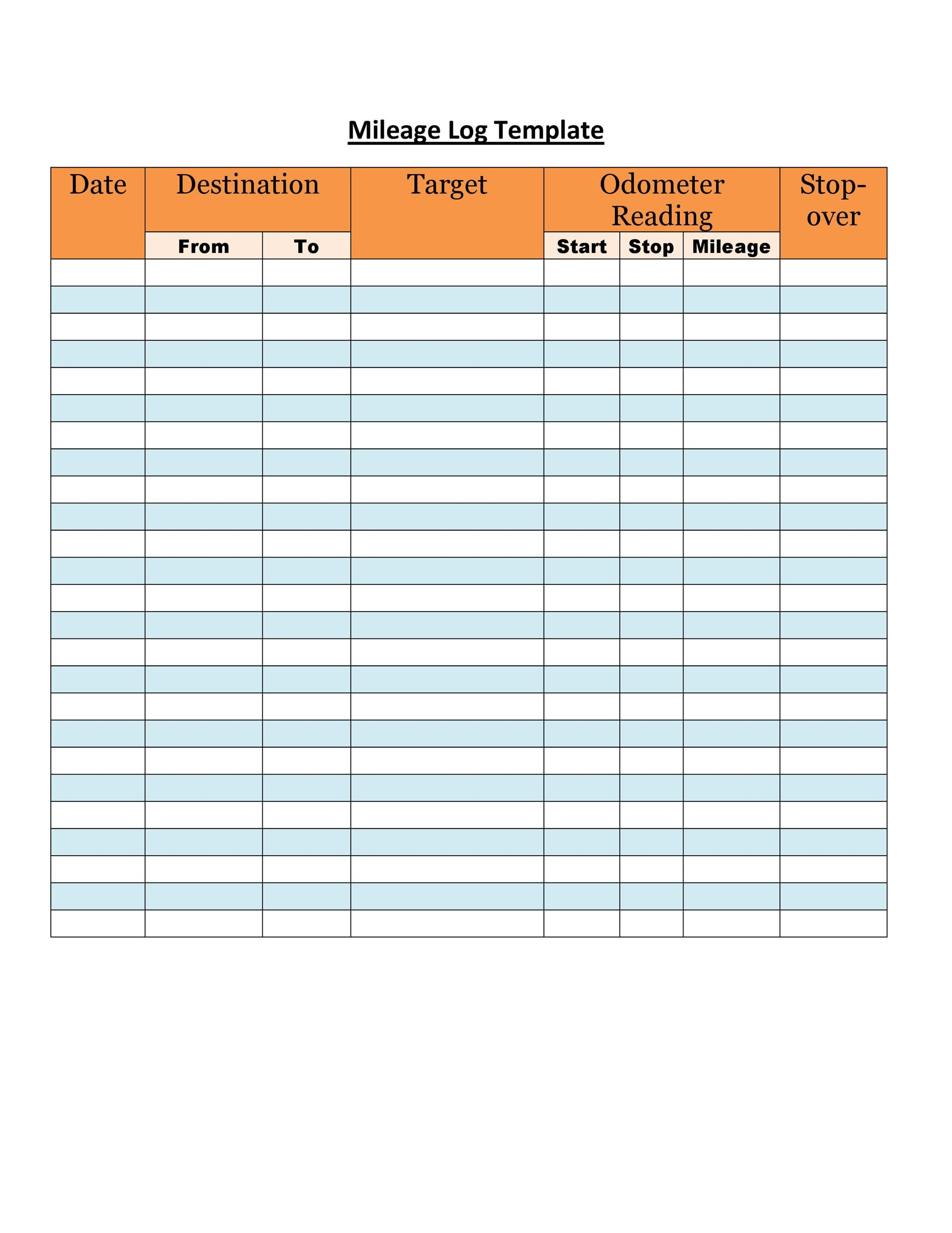 30 Printable Mileage Log Templates Free
