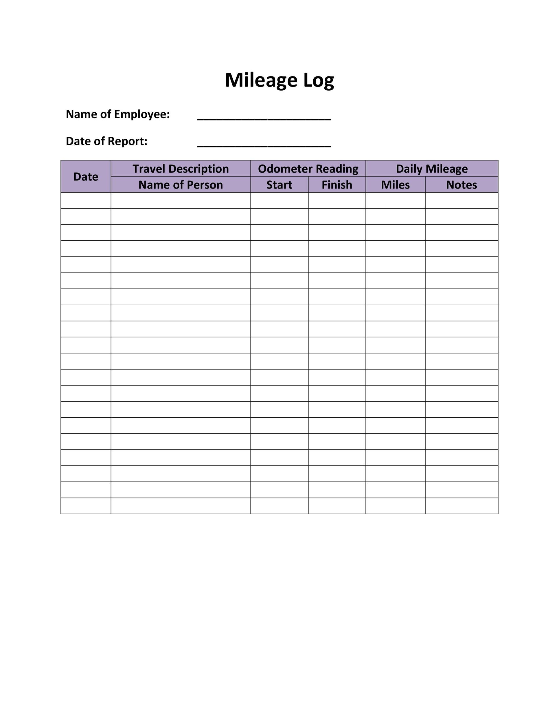 31 Printable Mileage Log Templates Free Templatelab