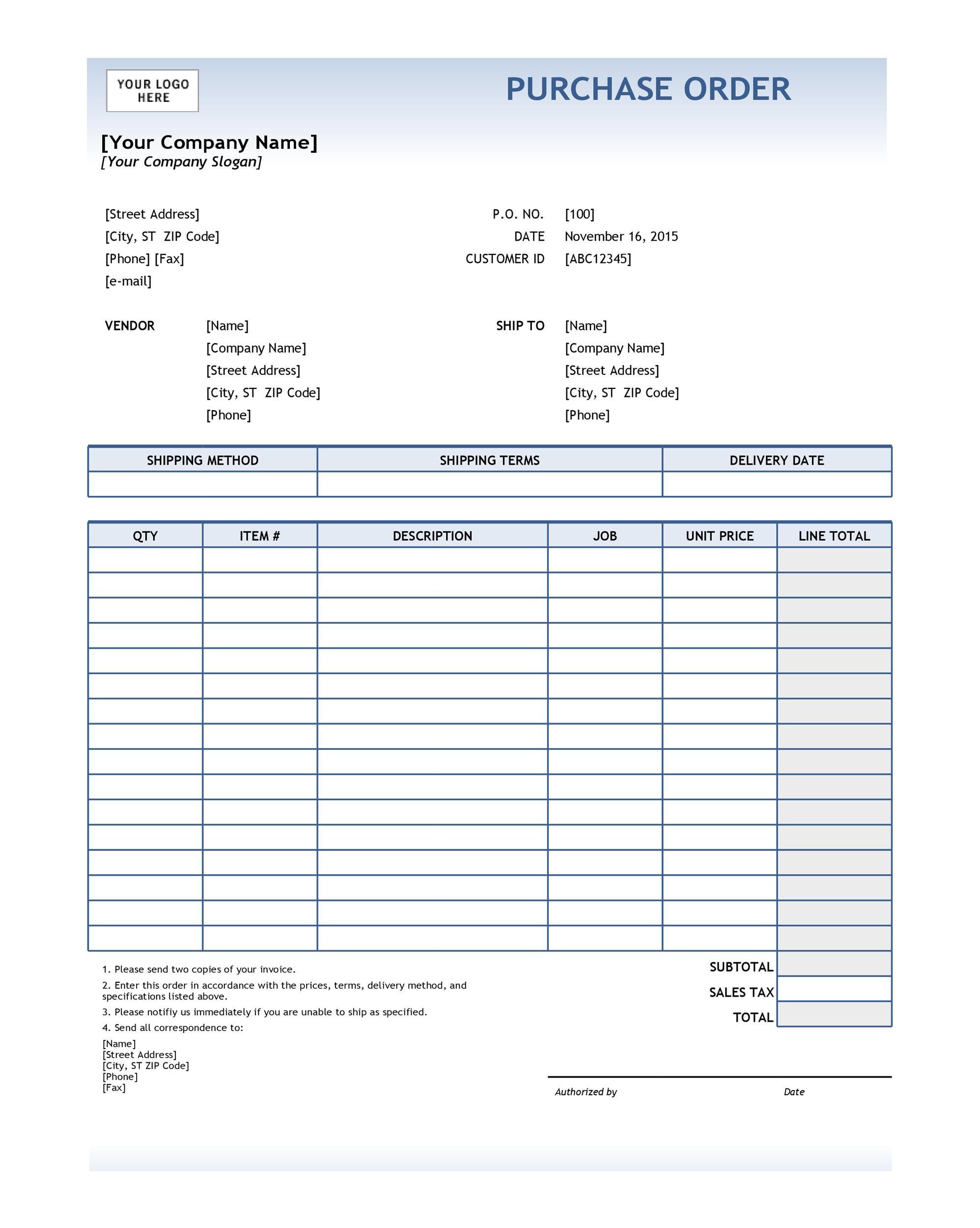 Contoh Purchase Order Barang : contoh, purchase, order, barang, Purchase, Order, Templates, Word,, Excel,