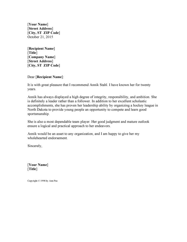27+ Awesome Personal / Character Reference Letter Templates [FREE]