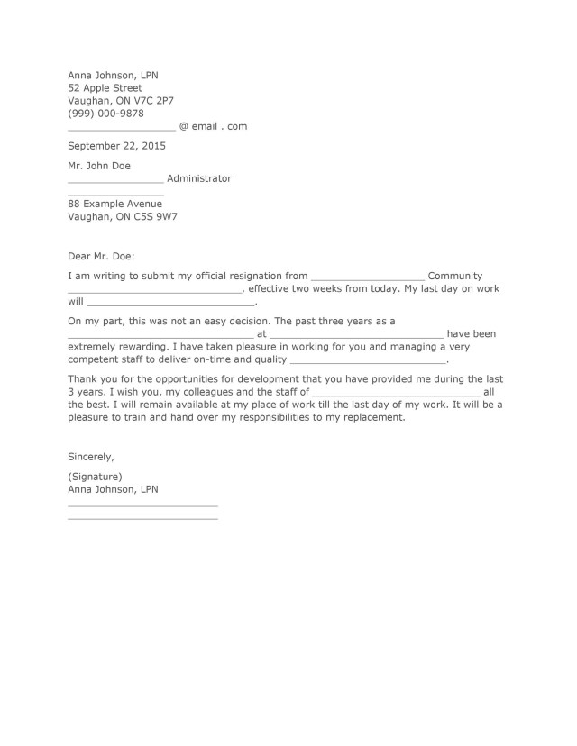 18 Two Weeks Notice Letters & Resignation Letter Templates