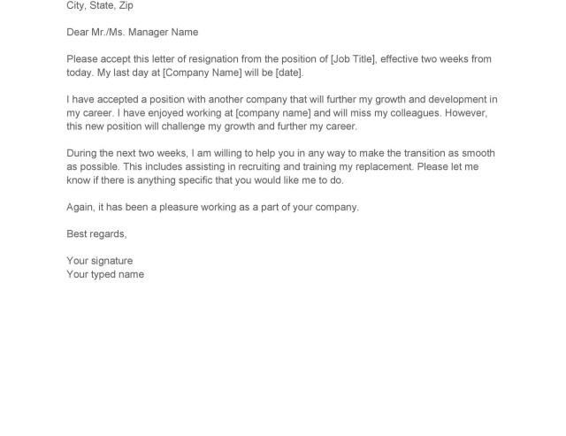 Letters Resignation Letter Templates