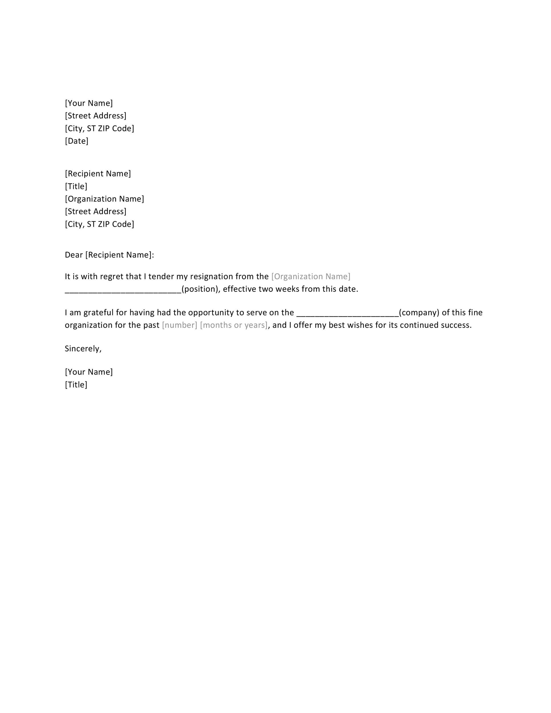 40 Two Weeks Notice Letters  Resignation Letter Templates