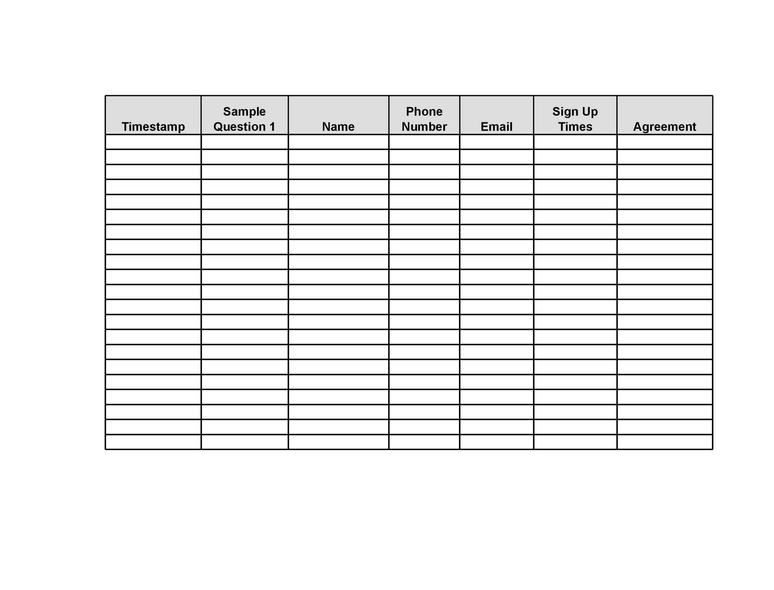 Download Free Sign Up Sheets Templates For Excel