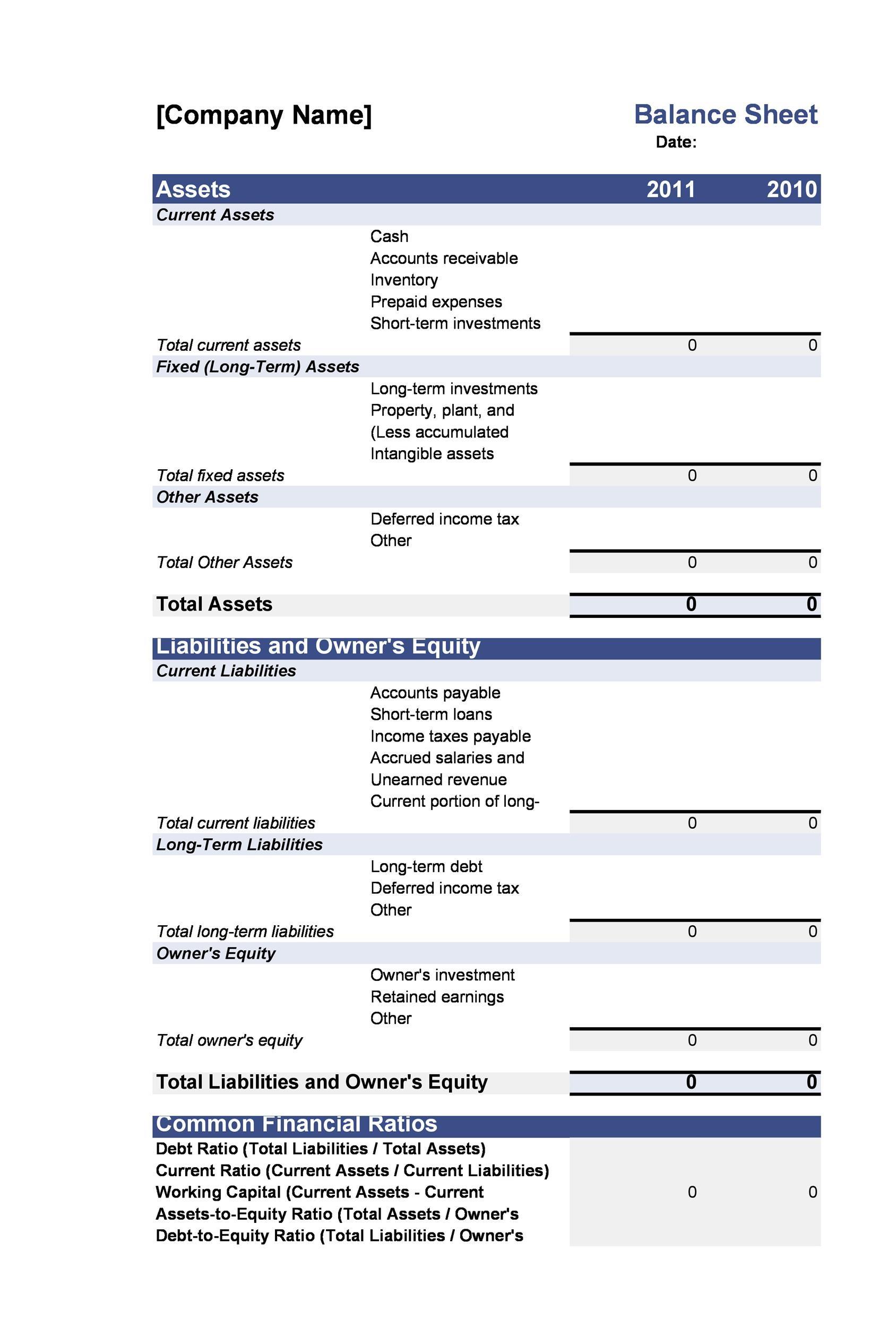 38 Free Balance Sheet Templates Amp Examples