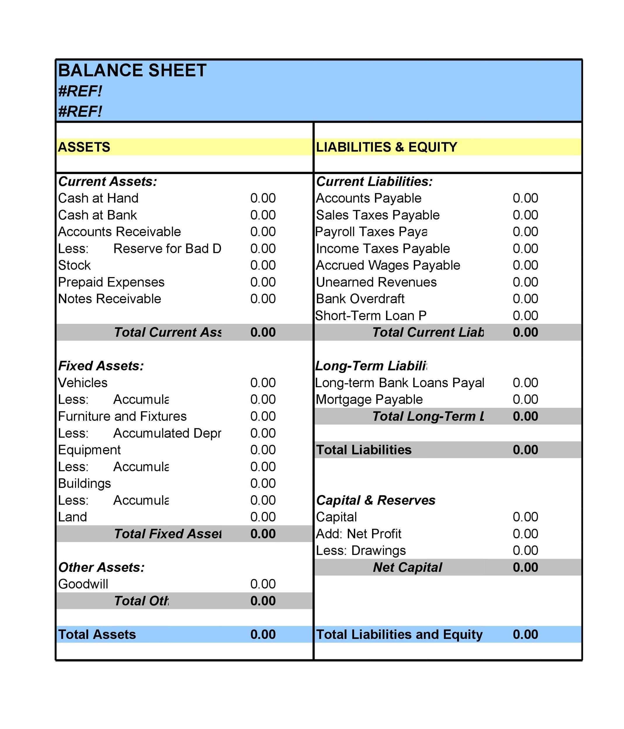 38 Free Balance Sheet Templates Amp Examples Templatelab