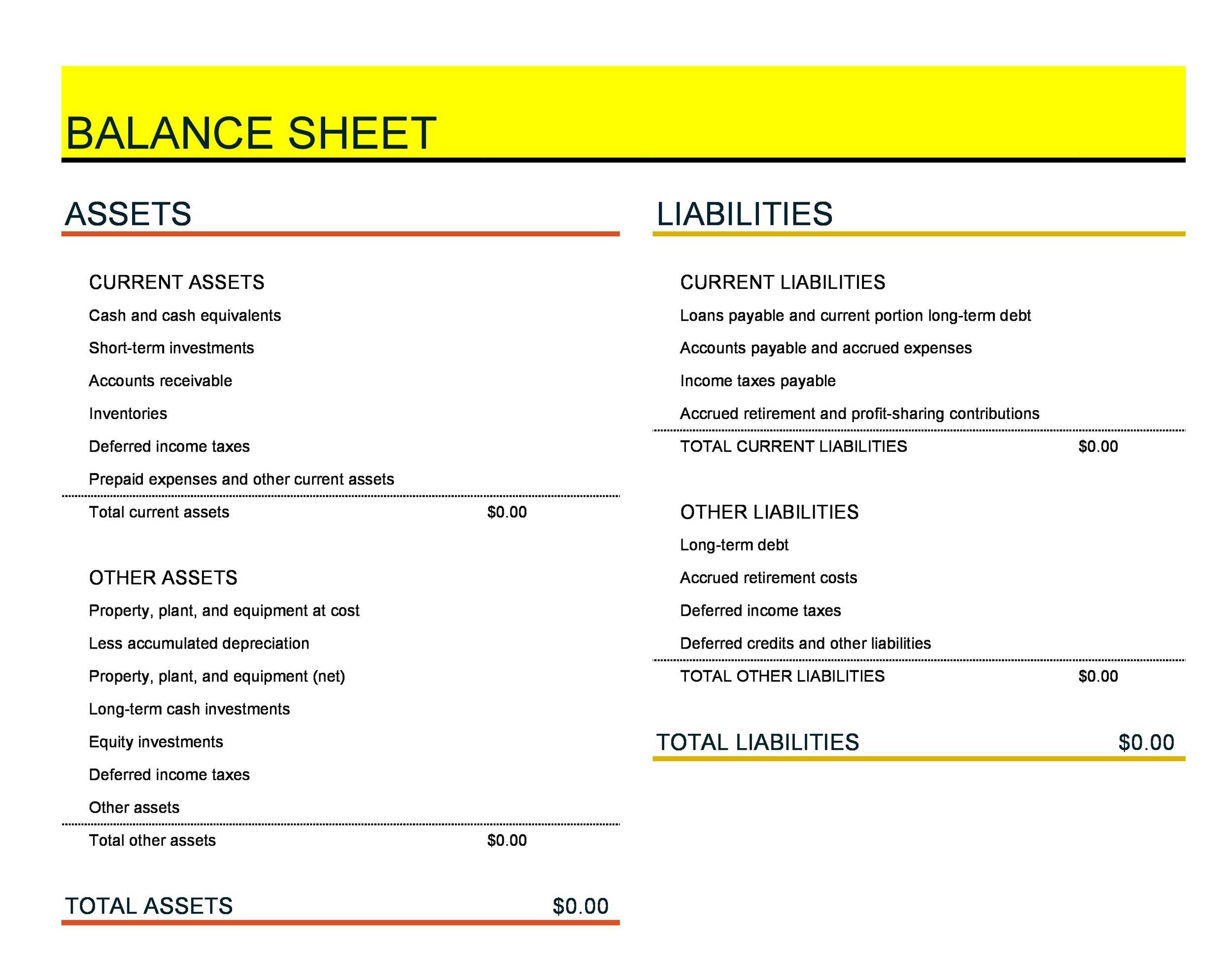Free Balance Sheet Template 28