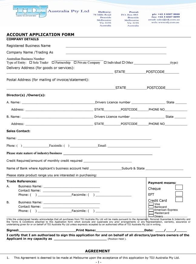 letter of credit application format
