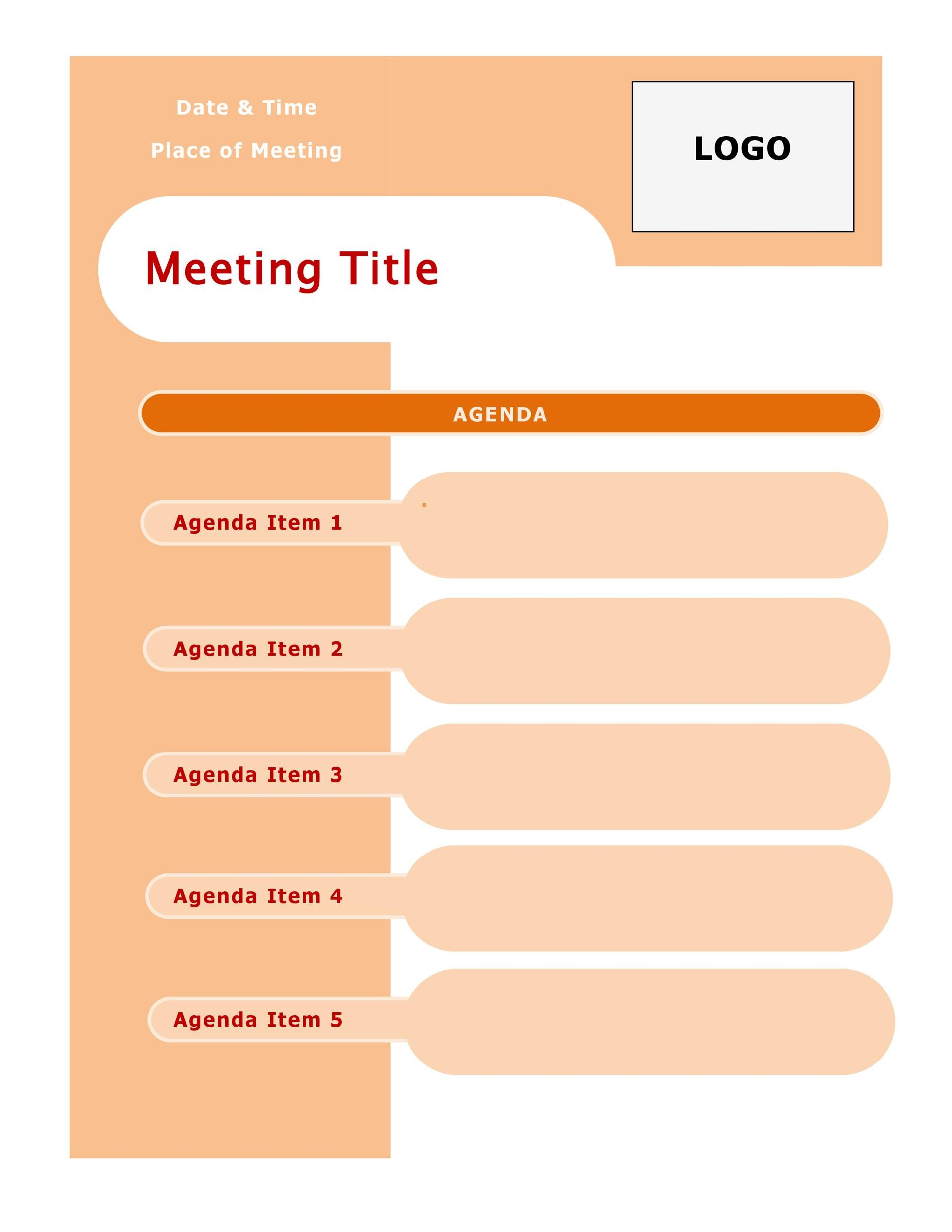An outline structure helps guide the meeting's direction so that you don't jump from one topic to another, allowing business to be. 46 Effective Meeting Agenda Templates Á… Templatelab