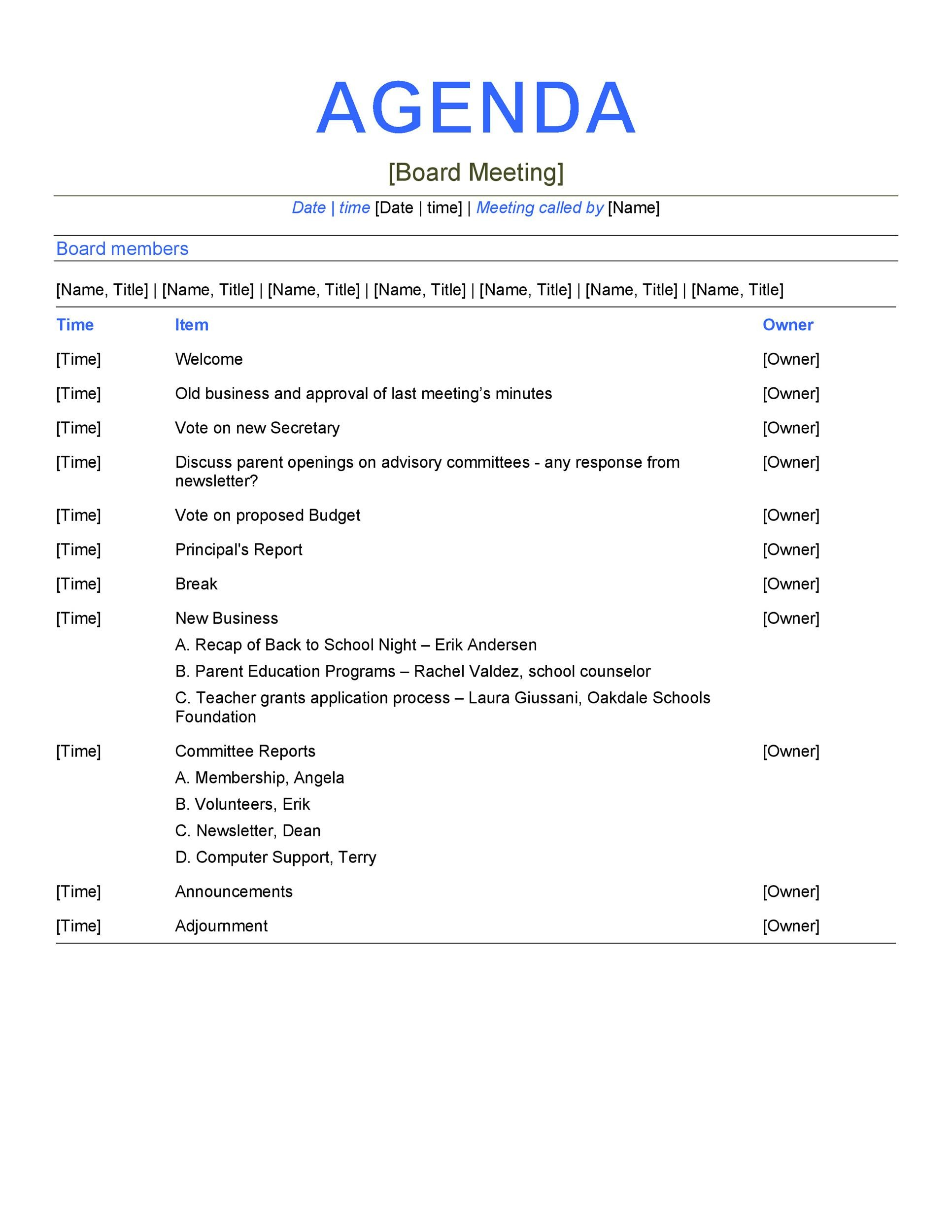 meeting agenda format