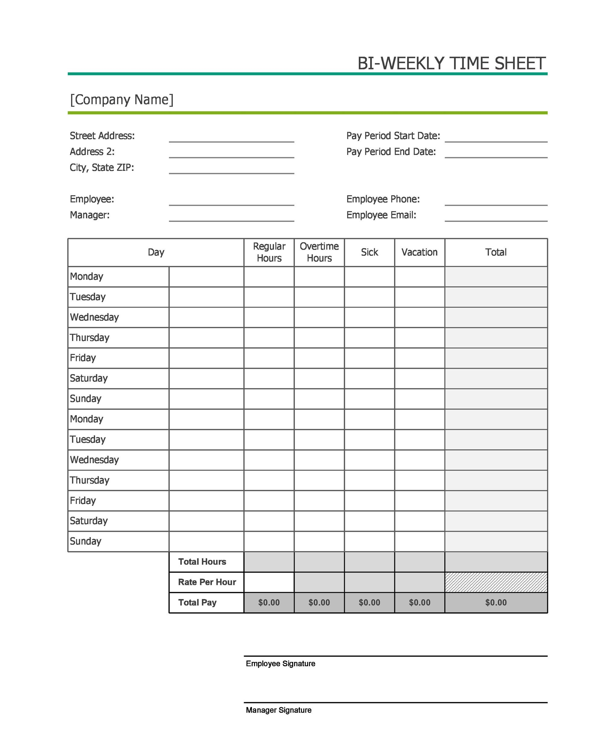 40 Free Timesheet Time Card Templates