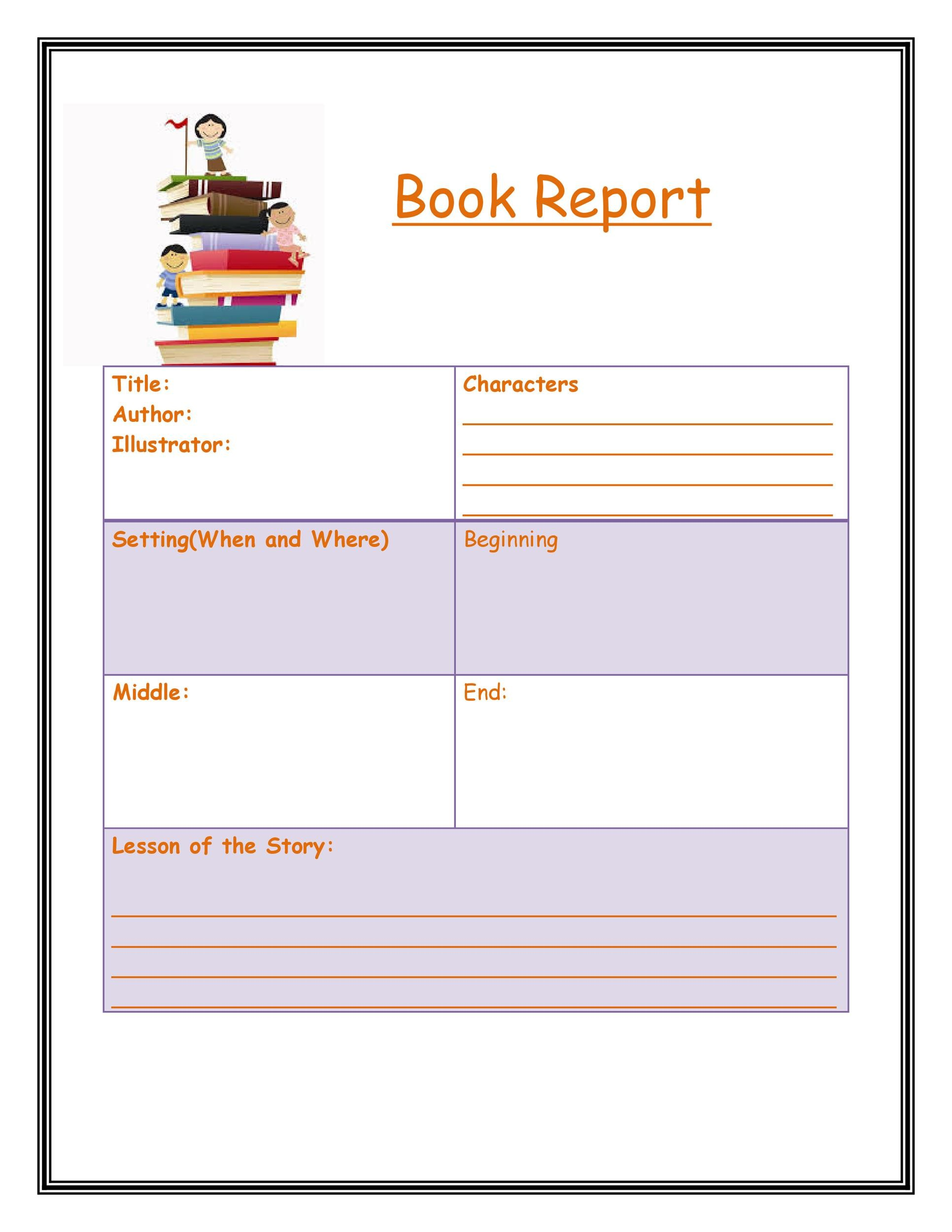 48 Printable Book Report Templates For Kindergarten