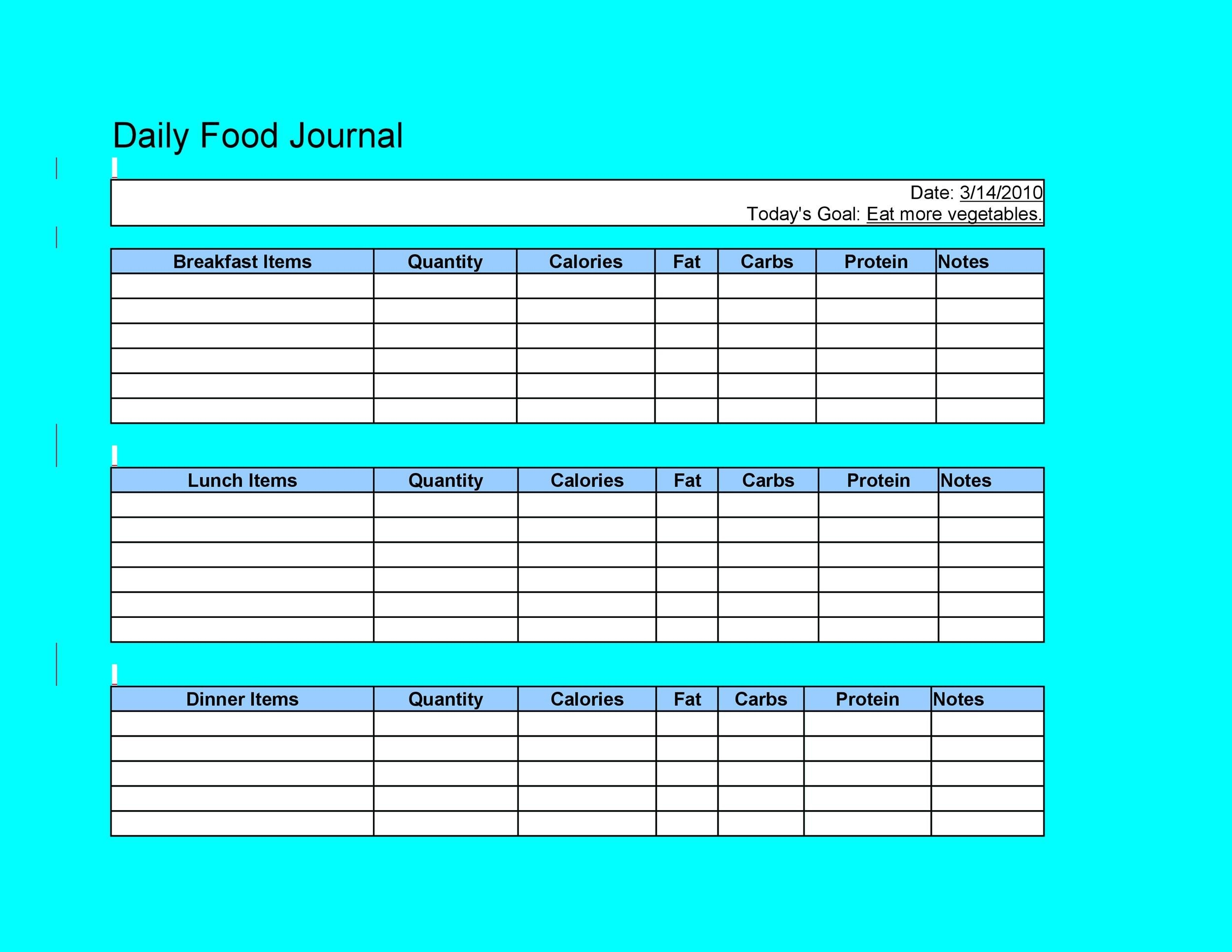 40 Simple Food Diary Templates Amp Food Log Examples