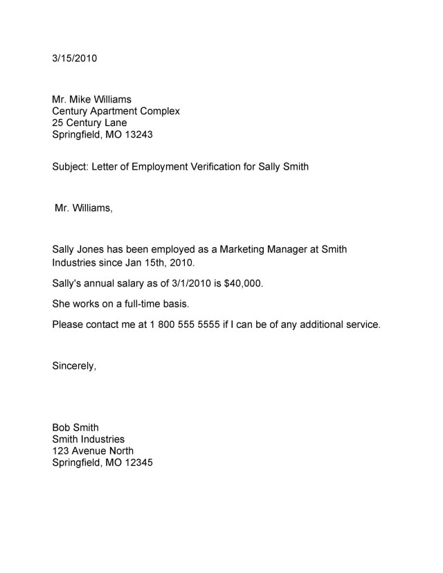 Letter Confirming Employment  Free Download