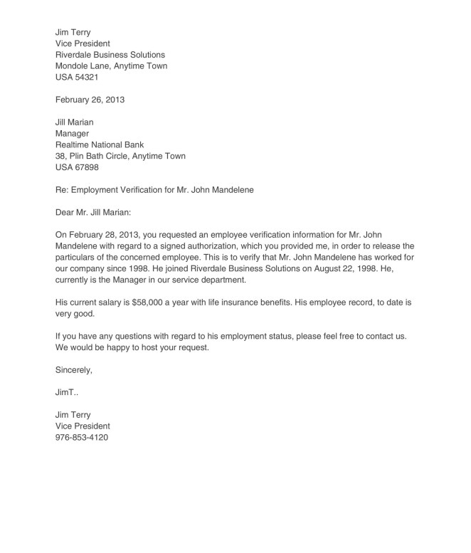Employment Verification Request Letter Sample | Docoments Ojazlink
