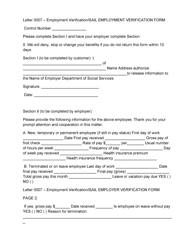 proof of employment form template – Verification of Employment Form Template