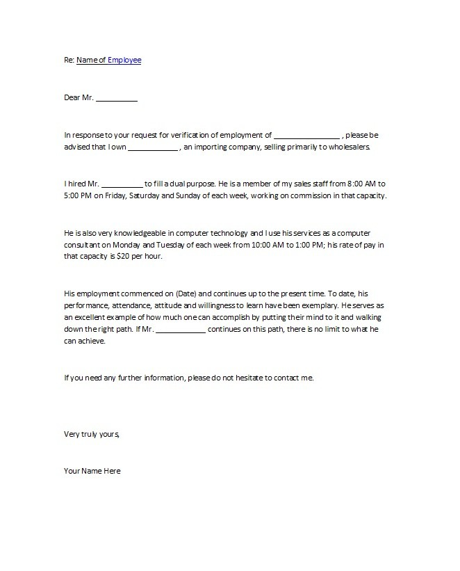 Letter Of Employment For Landlord | Docoments Ojazlink