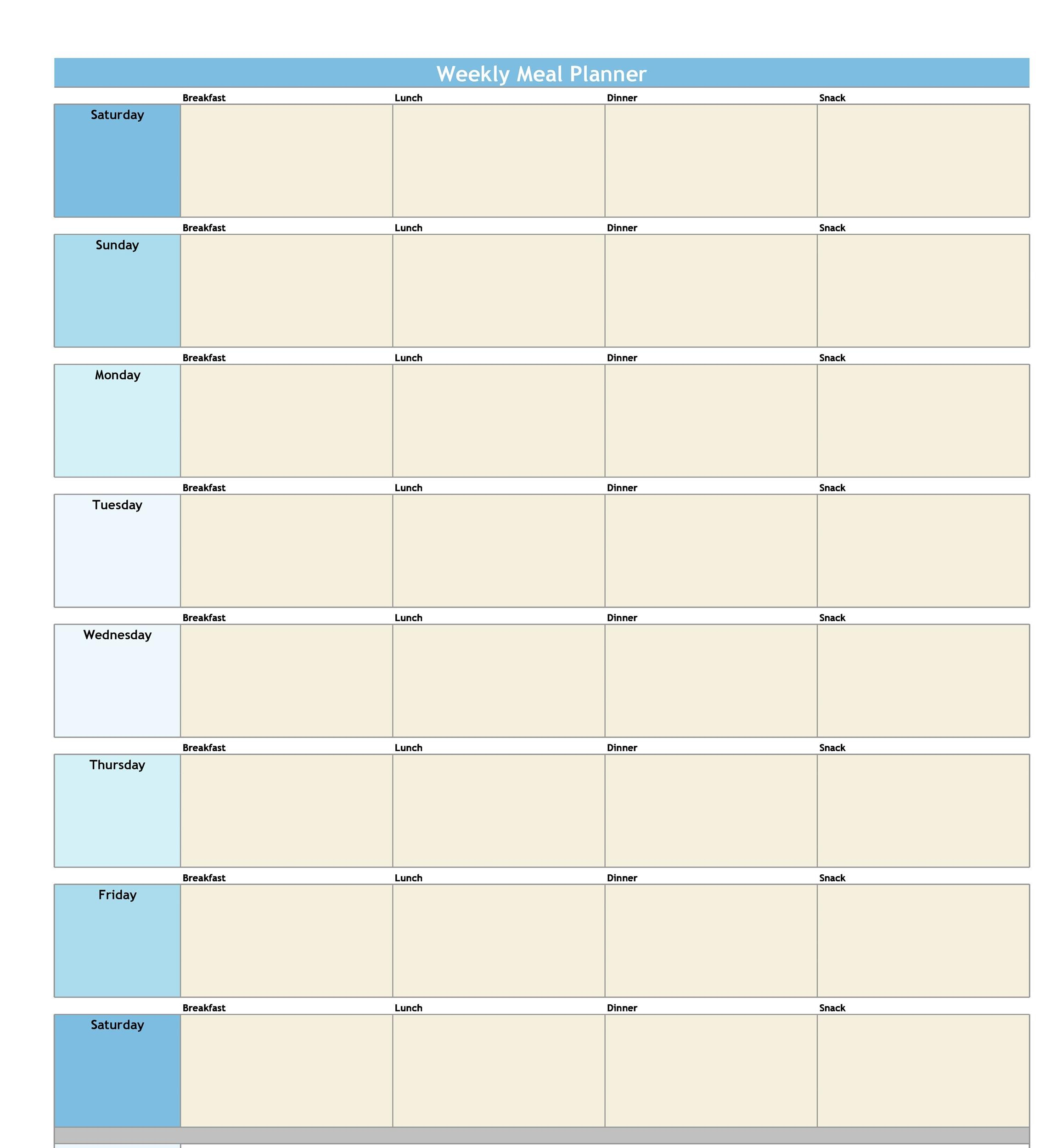 40 Weekly Meal Planning Templates